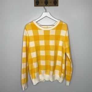 Anthropologie Moth Yellow Plaid Sweater